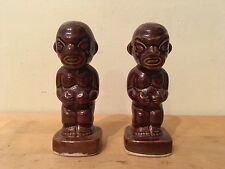 "Vintage KON TIKI Brown Glazed Ceramic Salt & Pepper Shakers Set POLYNESIAN 4"""