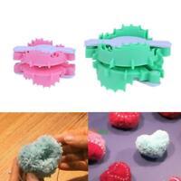 2pcs Heart Shape Pompom Maker Fluff Ball Weaver Loom Needle Knitting Wool Tool