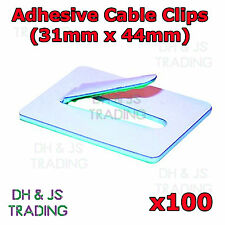 100x 31mm x 44mm Steel Self Adhesive Cable Clips Adhesive Backing Wire Cable