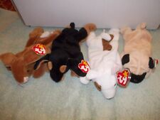 4) Original Retired Ty Beanie Baby Dog Dogs Doby Pugsly Butch & Ears Rabbit