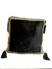Black With Gold Sari Trim Decorative Throw Toss Pillow