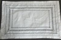Vintage rectangular white linen tray cloth with drawn thread work.