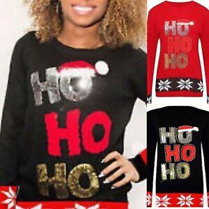 Ladies Women Christmas Glitter Ho Ho Ho 3D Pom Pom Hat Novelty Jumper Sweatshirt