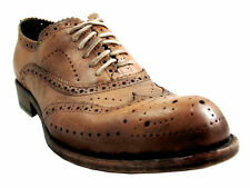 Jo Ghost 1447 Men's Italian Leather Wingtip Brogue Lace-Up Dress Shoes in Brown