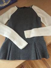 NWOT Timo Weiland gray peplum white merino angora sweater size 4