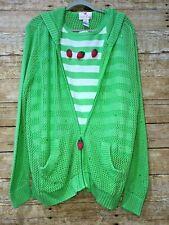 Quacker Factory Womens Strawberries Tank Top Open Knit Zip Sweater 2Pc Set 1X
