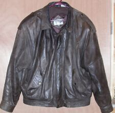 Mens Size 44 Leather Bomber Jacket Coat Brown Air Force Pilots L Large USAF Army