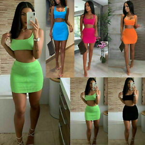 Ladies Womens Ribbed Neon Sleeveless Crop Top Mini Skirt Co-Ord Two Piece Set
