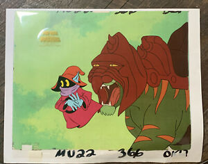 he-man masters of the universe orko cel and battlecat copy background