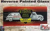 "HUDSON ETHYL AD GLASS 5"" X 11.75"" ERIE GAS PUMPS"