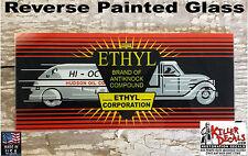 """HUDSON ETHYL AD GLASS SIZE 4.25"""" X 10.25"""" WAYNE 70 SIDES / WAYNE 100 GAS PUMP"""