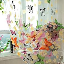 Voile Curtain Door Window Decor Panel Room Divider Butterfly Printed Sheer ONE