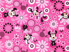 """FABRIC  DISNEY  MINNIE MOUSE  COTTON QUILTING MATERIAL PINK FLOWERS  12"""" REMNANT"""
