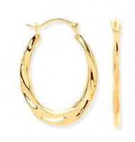 9CT HALLMARKED YELLOW GOLD OVAL TWIST HOOP CREOLE EARRINGS 21MM X 16MM