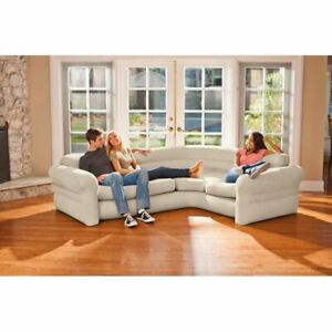 Luxury  Inflatable Indoor Corner Couch Sectional with Cupholders, Gray