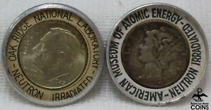 Lot of 2: United States Neutron Irradiated 1944 Mercury & 1947 Roosevelt Dimes