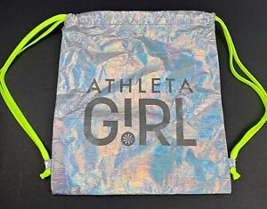 """ATHLETA Silver Iridescent with Neon Drawstring Backpack Travel Bag  15"""" x 13"""""""