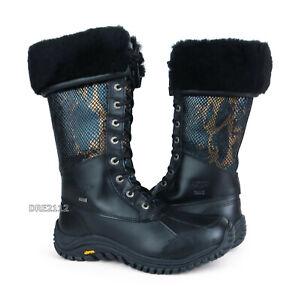 UGG Australia Adirondack Tall Exotic Velvet Black Leather Boots Size 10 *NIB*