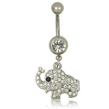 Ring Bar Rhinestone Body Piercing 1pc Steel Elephant Dangle Navel Belly Button