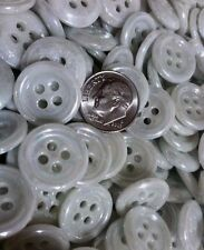 ⭐️  LOT OF 50 CHINA TIRE BUTTONS ANTIQUE~VINTAGE WHITE w/PEARL LUSTER~4 HOLE  ⭐️
