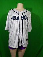 New York Baseball Style Jersey Size Large Pin Stripe Base Ball Jersey
