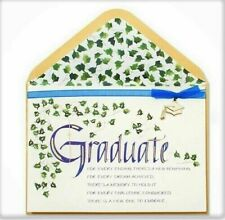 Beautiful Papyrus Graduation Card - Gold Embossing, Blue Ribbon & Gold Charm