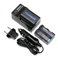 2x BATTERIES + CHARGER Pack for SONY NP-FM50 NP-FM55H  QM51  Camera Battery X2