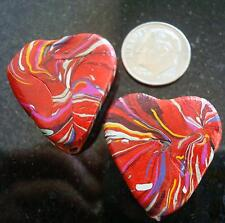 2 Red Fimo swirl 28mm heart beads large hole GBS031