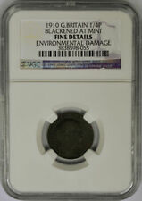 1910 Great Britain Farthing, 1/4 Penny, Blackened At Mint, NGC Fine Details.