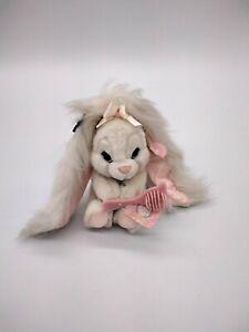 "Applause HARE BRUSH"" Plush Bunny Rabbit White Vintage 1980's Stuffed Animal"
