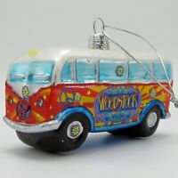 Kurt Adler Woodstock Van Bus Glass Ornaments WO4181