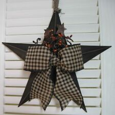 "COUNTRY PRIMITIVE Black 12"" Barn Star w/Pip Berries Rusty Stars Gingham Bow- USA"