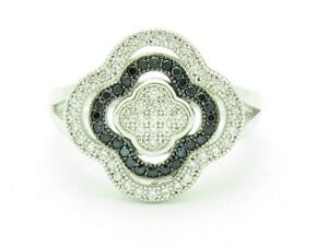 PLATINUM SILVER DIAMOND SET MICRO PAVE WHITE & BLACK SAPPHIRE CLOVER DESIGN RING