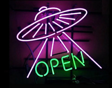"UFO Open Alliens 20""x16"" Neon Sign Lamp Light Beer Bar With Dimmer"