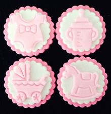 12x BABY / BABY SHOWER PINK EDIBLE CUPCAKE TOPPERS / DECORATIONS
