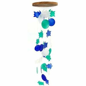 Turtle and Round Capiz Wind Chime, Blue, Green and White