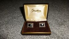 Black Stones In Original Box! Stylish Vintage 1960's Stratton Cufflinks With