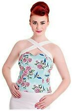 Hell Bunny Blue Rose Swallow Criss Cross over top Halter pinup retro rockabilly