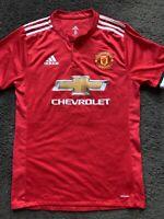 Lukaku #9 Manchester United Adidas Climacool Chevrolet Red Futbol Mens Jersey M