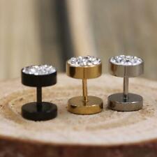 Men's Barbell Punk Stainless Steel Crystal Ear Studs Earrings DS