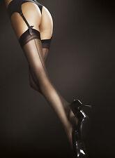 Bas sexy couture femme pour porte jarretelle noir blanc tan FIORE 20DEN T2 T3 T4