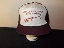VTG-1980s Western Trucking Baker Montana trucker snapback hat sku16