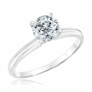 Classic Four Prong 1CT Solitaire Engagement Ring 14K White Gold Finish VVS/D