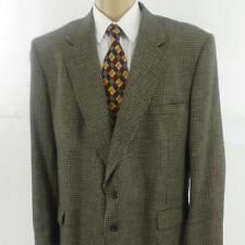 50 L TownCraft Brown Plaid Tweed Wool Poly Silk Mens Jacket Sport Coat Blazer