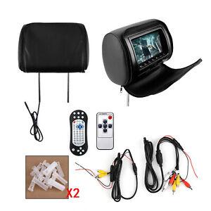 "2x Car Headrest 7"" HD Digital Monitors DVD Video Player Game USB TV IR SD"
