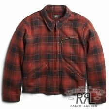 RRL Ralph Lauren 1940s Rugged Hunting Weist Plaid Fleece Jacket Coat- M
