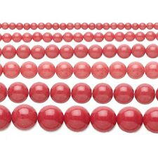 Coral Red Mountain Jade 4, 6, 8, 10, 12, OR 14mm Round Beads - 16