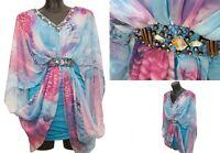 Izabel London Casual Summer Holiday Sheer Chiffon Floral  Kaftan Dress Size 8 UK