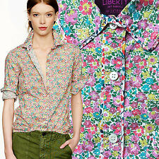J CREW Liberty of London Tipped Boy Shirt Dora's Flowers Floral Art Print Blouse