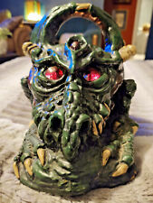 Vintage Dragon statue Fugurines Green, glass eyes glow red candle early 1980